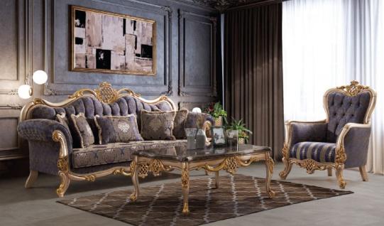Casa Padrino Luxus Barock Wohnzimmer Set Blau / Silber / Gold - 2 Sofas & 2 Sessel & 1 Couchtisch - Handgefertigte Wohnzimmer Möbel im Barockstil - Edel & Prunkvoll
