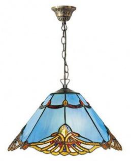 Casa Padrino Tiffany Hängeleuchte Blau / Mehrfarbig Ø 40 x H. 82 cm - Handgefertigte Tiffany Pendelleuchte