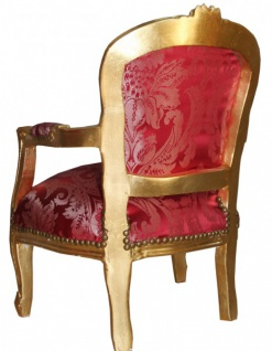 Casa Padrino Barock Kinder Stuhl Bordeauxrot Muster /Gold - Armlehnstuhl - Antik Stil Möbel - Vorschau 2