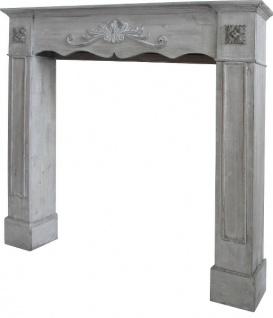 Casa Padrino Landhausstil Kaminumrandung Antik Grau 105 x 17 x H. 102 cm - Handgefertigte Kaminumrandung im Shabby Chic Look