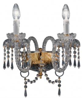 Casa Padrino Barockstil Kristall Wandleuchte Messing / Gold 35 x 30 x H. 32 cm - Barock Wandlampe