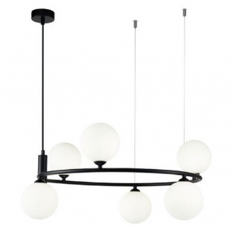 Casa Padrino Luxus Hängeleuchte Schwarz / Weiß Ø 58 x H. 28 cm - Moderne höhenverstellbare Metall Hängelampe mit runden Glas Lampenschirmen