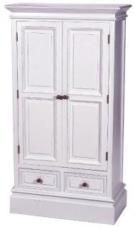 Casa Padrino Landhausstil Schrank Antik Weiß 69 x 35 x H. 127 cm - Zweitüriger Schrank mit 2 Schubladen im Landhausstil