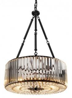 Casa Padrino Luxus Hängeleuchte Gunmetal Finish / Glas - Art Deco Restaurant - Hotel Lampe Leuchte