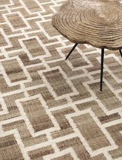 Casa Padrino Luxus Jute Teppich Naturfarben / Weiß 300 x 400 cm - Luxus Wohnzimmer Accessoires