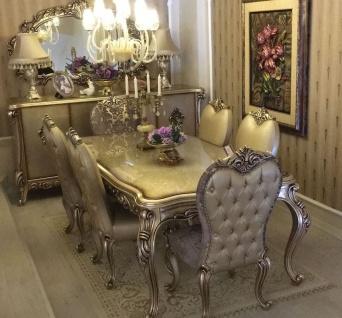 Casa Padrino Luxus Barock Esszimmer Set - 1 Esstisch & 6 Esszimmerstühle - Prunkvolle Barock Esszimmer Möbel