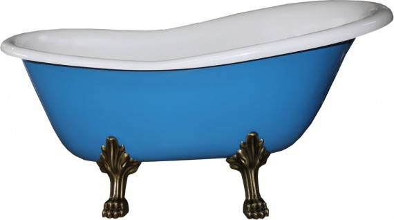 Freistehende Luxus Badewanne Jugendstil Roma Hellblau/Weiß/Altgold 1470mm - Barock Badezimmer - Mod1