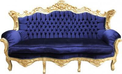 Casa Padrino Barock Wohnzimmer Set Royal Blau /Gold - 3er Sofa+2er Sofa + 1 Sessel - Vorschau 4