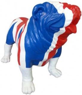Casa Padrino Designer Deko Hund Bulldogge mit UK England Flagge Blau / Weiß / Rot 180 x H. 174 cm - Riesige Dekofigur - Gartendeko Skulptur - Gartenfigur