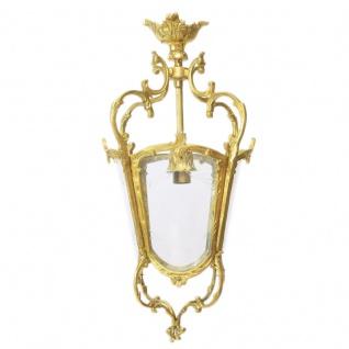 Casa Padrino Antik Stil Barock Decken Hängeleuchte 35 x 35 x H 70 cm - Glas / Gold - Laterne Hängelaterne