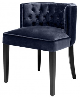 Casa Padrino Luxus Chesterfield Esszimmerstuhl Mitternachtsblau / Schwarz 60 x 58 x H. 77 cm - Esszimmermöbel