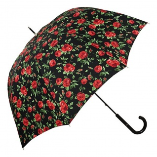MySchirm Designer Regenschirm mit roten Rosen auf schwarzem Untergrund - Eleganter Stockschirm