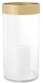 Casa Padrino Luxus Kerzenleuchter Antik Messing Ø 20, 5 x H. 41, 5 cm - Runder Glas Kerzenleuchter mit Aluminium Ring - Luxus Qualität