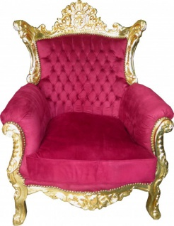 Casa Padrino Barock Wohnzimmer Sessel Al Capone Mod2 Bordeaux / Gold - Barock Möbel