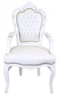 Casa Padrino Barock Esszimmerstuhl Weiß / Weiß Lederoptik mit Armlehnen - Barockstuhl - Antik Stil Stuhl