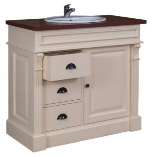 Casa Padrino Landhaus Stil Waschschrank Waschtisch inkl 1 Waschbecken Creme / Braun - Bad Schrank - Vorschau 2