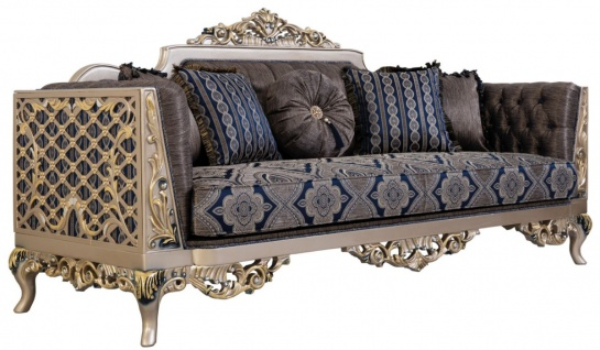 Casa Padrino Luxus Barock Sofa mit dekorativen Kissen Blau / Silber / Gold 226 x 90 x H. 110 cm - Barock Wohnzimmer Möbel