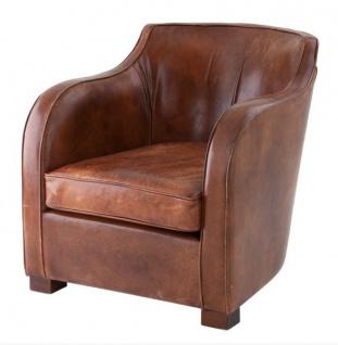 Chesterfield Luxus Echt Leder Ohrensessel Scotland Vintage Leder Tobacco Braun von Casa Padrino - Club Sessel