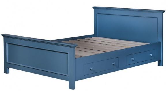 Casa Padrino Landhausstil Bett Blau 160 x 200 cm - Schlafzimmermöbel im Landhausstil - Vorschau