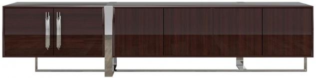 Casa Padrino Luxus Art Deco TV Schrank Dunkelbraun / Silber 245 x 45 x H. 55 cm - Edler Wohnzimmer Fernsehschrank mit 6 Türen - Art Deco Möbel