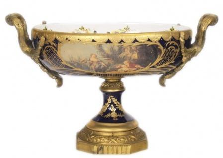 Casa Padrino Barock Porzellan Schale Kobalt / Gold B40 H37 cm - Grand Decor - Hotel Dekoration