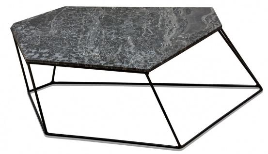 Casa Padrino Designer Couchtisch Schwarz mit Muster / Schwarz 89 x 54 x H. 30 cm - Luxus Wohnzimmertisch mit Marmorplatte - Vorschau 3