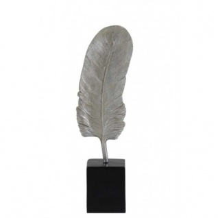 Casa Padrino Designer Hotel Dekoration Silber/Schwarz 7 x 5, 5 x H. 26 cm - Metall Feder