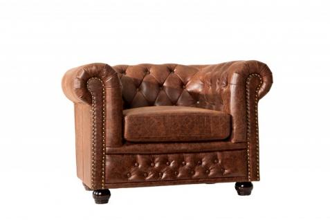 Chesterfield Spaltleder Sessel Vintage Braun aus dem Hause Casa Padrino - Lounge Sessel - Vorschau 1
