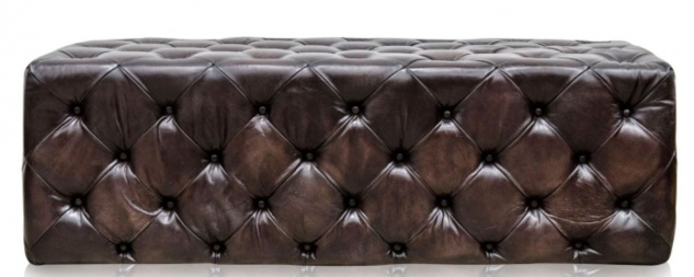 Casa Padrino Luxus Chesterfield Echtleder Fußhocker Rotguss 144 x 64 x H. 46 cm - Luxus Möbel - Vorschau 3