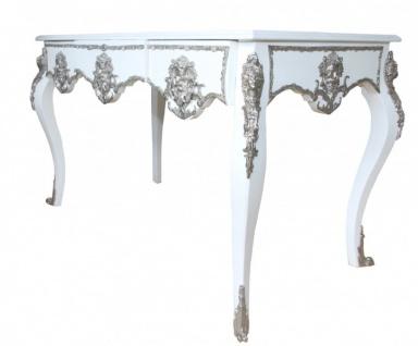 Casa Padrino Luxus Barock Schreibtisch Weiß / Silber Sekretär Luxus Möbel - Vorschau 3