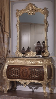 Casa Padrino Luxus Barock Kommode mit Spiegel Braun / Schwarz / Gold - Barock Spiegelkommode - Prunkvolle Barock Möbel - Hotel Möbel - Schloss Möbel - Luxus Qualität - Made in Italy