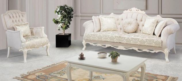 Casa Padrino Luxus Barock Wohnzimmer Set Hellrosa / Weiß / Beige - 2 Sofas & 2 Sessel & 1 Couchtisch - Prunkvolle Wohnzimmer Möbel im Barockstil
