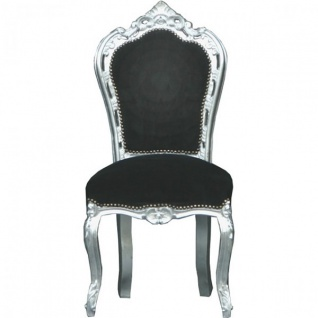 Casa Padrino Barock Esszimmer Stuhl Schwarz/Silber - Möbel