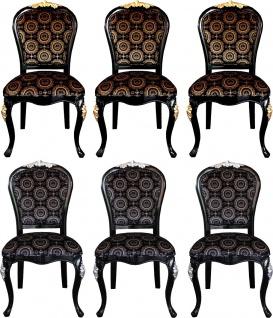 Pompöös by Casa Padrino Luxus Barock Esszimmer Stühle mit Krone Schwarz / Gold & Schwarz / Silber ( 6 Stühle) Harald Glööckler Möbel