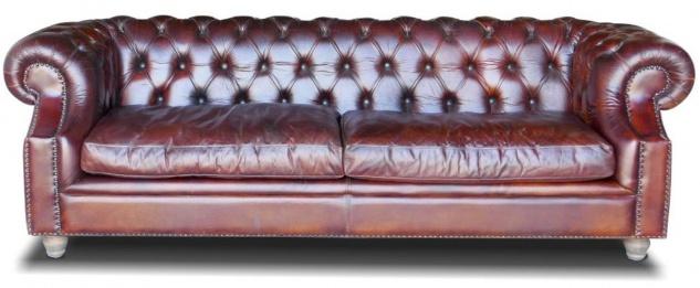 Casa Padrino Luxus Chesterfield Leder Sofa 240 x 100 x H. 80 cm - Verschiedene Farben - Echtleder Wohnzimmer Sofa - Chesterfield Wohnzimmer Möbel