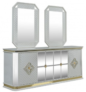 Casa Padrino Luxus Art Deco Möbel Set Weiß / Gold - 1 Sideboard & 2 Spiegel - Edel & Prunkvoll
