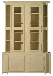 Casa Padrino Luxus Landhausstil Vitrine Beige 180 x 45 x H. 270 cm - Handgefertigter Vitrinenschrank - Massivholz Küchenschrank - Landhausstil Möbel
