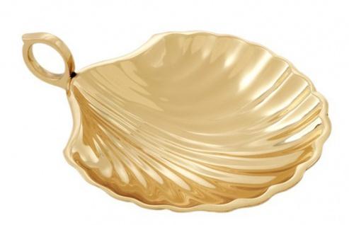 Casa Padrino Designer Schale Muschel Goldfarben Messing poliert 15.5 x 12.5 cm Massiv Schwer - Luxus Dekoration