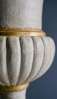 Casa Padrino Barock Gusseisen Vase mit Sockel Weiß / Gold Ø 55 x H. 78 cm - Prunkvolle Gartendeko im Barockstil - Vorschau 2