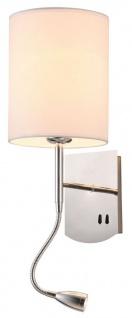 Casa Padrino Wandleuchte Silber / Creme 16 x 16 x H. 35 cm - Wandlampe mit flexiblem Leselicht - Vorschau 2