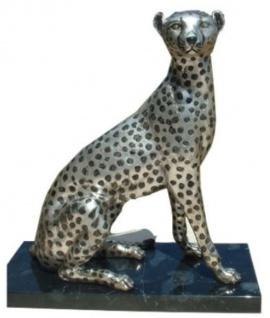 Casa Padrino Luxus Bronzefigur Silber / Schwarz 37 x 15 x H. 40 cm - Sitzender Gepard mit Marmorsockel