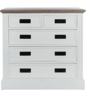 Casa Padrino Landhausstil Kommode mit 5 Schubladen Weiß / Grau 85 x 40 x H. 86 cm - Landhausstil Möbel