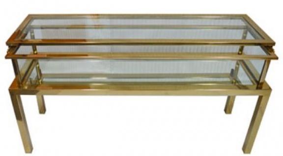 Casa Padrino Luxus Edelstahl Konsole Gold 139 x 40 x H. 72 cm - Rechteckiger Konsolentisch mit Glasplatten - Wohnzimmer Möbel