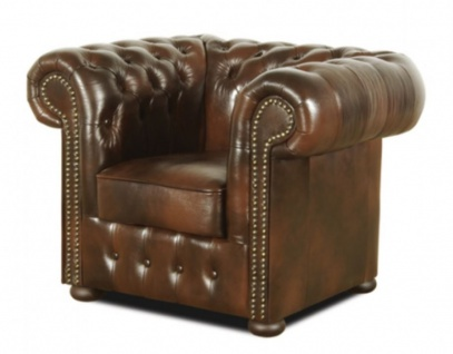 Casa Padrino Chesterfield Wohnzimmer 3er Set Dunkelbraun - Luxus Echtleder Möbel - Vorschau 4