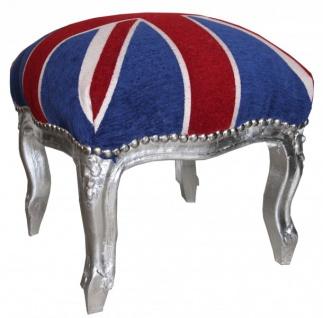 Casa Padrino Barock Fußhocker Union Jack / Silber - Hocker Englische Flagge- Antik Stil England - Vorschau 1