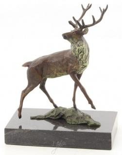 Casa Padrino Luxus Deko Bronzefigur Rothirsch Mehrfarbig / Schwarz 12, 5 x 7, 4 x H. 15, 2 cm - Bronze Skulptur