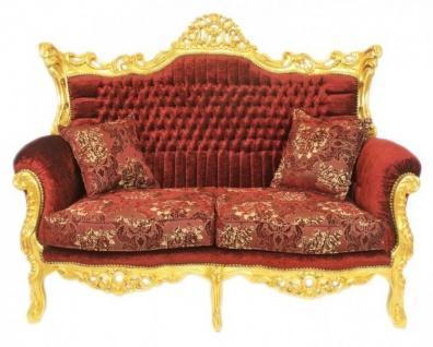 Casa Padrino Barock Wohnzimmer Set Master Bordeaux Muster Samtstoff / Gold - 2er Sofa + 2 Sessel - Limited Edition! - Vorschau 2