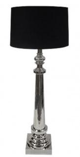 Casa Padrino Luxus Stehleuchte Silber / Schwarz Ø 30 x H. 134 cm - Edelstahl Stehlampe mit Lampenschirm