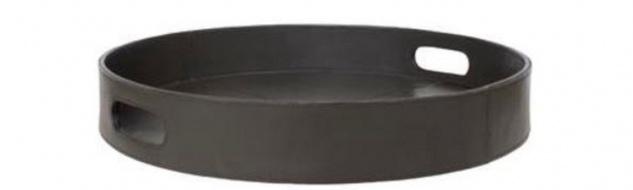 Casa Padrino Luxus Tablett mit 2 Tragegriffen Anthrazit Ø 40 x H. 6 cm - Mit Leder bezogenes rundes Serviertablett - Gastronomie Accessoires - Vorschau 1