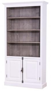 Casa Padrino Landhausstil Bücherschrank Weiß / Dunkelbraun 109 x 40 x H. 210 cm - Landhausstil Wohnzimmerschrank - Vorschau